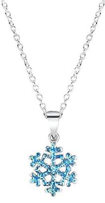 Jo for Girls Sterling Silver Blue Glitter Snowflake Pendant on 35.5cm Chain