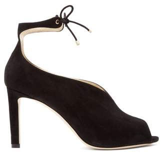 Jimmy Choo Sayra 85 Ankle Tie Suede Pumps - Womens - Black