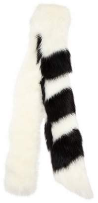 Off-White Striped Faux Fur Scarf