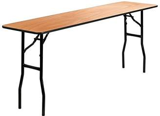 clear Flash Furniture 18'' x 72'' Rectangular Wood Folding Training/Seminar Table with Smooth Coated Finished Top