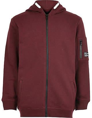 River Island Boys burgundy zip up hoodie