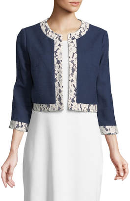 Karl Lagerfeld Paris Lace-Trim Open-Front Bomber Jacket