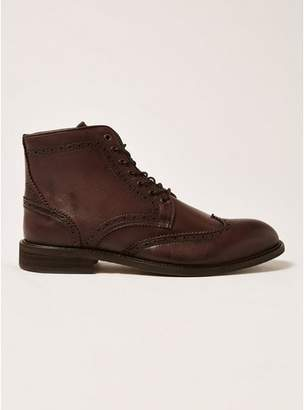 Topman Mens SELECTED HOMME Brown Leather Baxter Brogue Boots