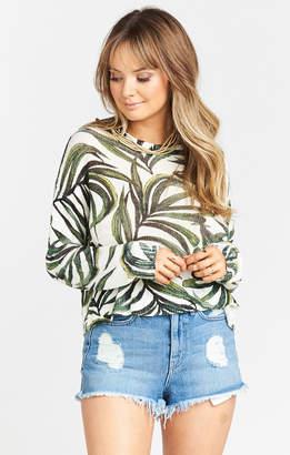 Show Me Your Mumu Cropped Varsity Sweater ~ Peruvian Palm Knit