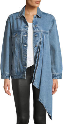 Victoria / Tomas Denim Jacket w/ Asymmetric Draped Detail