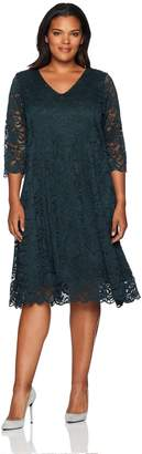 Junarose Women's Plus Size Three Qaurter Sleeve Lace Dress