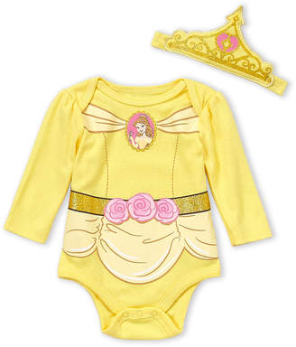 Disney Newborn Girls) Two-Piece Belle Bodysuit & Crown Headband Set