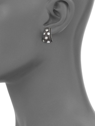 Charles Krypell Starlight Sterling Silver, 14K White Gold, White Sapphire & Black Sapphire Earrings