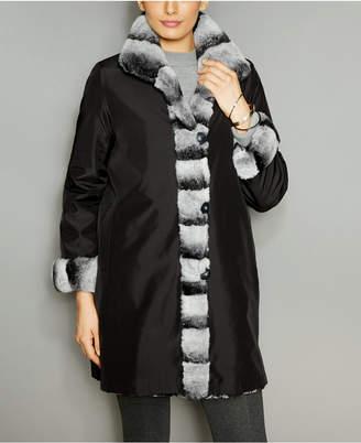 The Fur Vault Rabbit-Fur-Trim Silk Coat