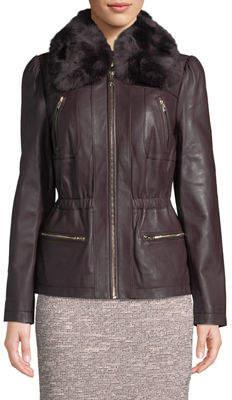 Karl Lagerfeld Paris Princess-Sleeve Leather Jacket with Faux-Fur Neckline