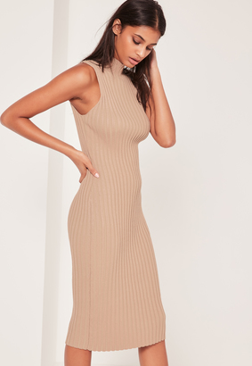 Missguided Extreme Ribbed Midi Dress Camel