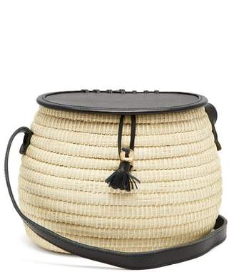 Sensi Studio - Leather And Toquilla Straw Basket Bag - Womens - Black Multi