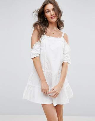 ASOS Lace Insert Tiered Cold Shoulder Sundress $51 thestylecure.com