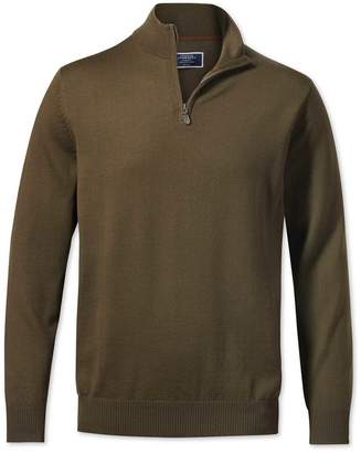 Charles Tyrwhitt Olive Zip Neck Merino Wool Sweater Size Large