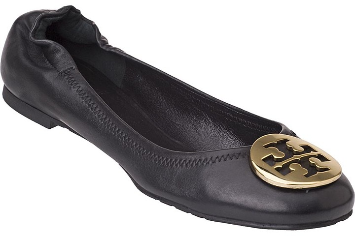 TORY BURCH Reva Ballet Flat Gold/Black Leather