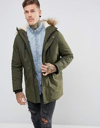 New Look Parka With Faux Fur Lined Hood In Khaki