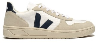 Veja V 10 Suede And Mesh Low Top Trainers - Mens - White Multi