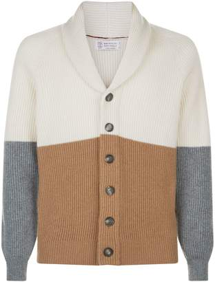 Brunello Cucinelli Colour Block Cashmere Cardigan