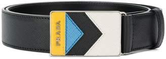 Prada chevron buckle belt