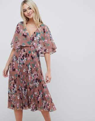 f74414f0f69 Asos Design DESIGN flutter sleeve midi dress with pleat skirt in floral  print