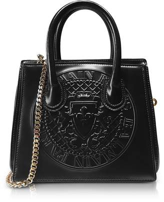 Balmain 3D Black Glossy Leather Mini Top Handle Bag w/Embossed Blazon