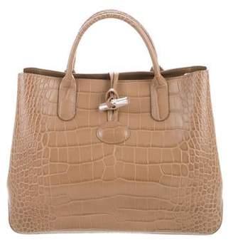 Longchamp Embossed Leather Roseau Tote