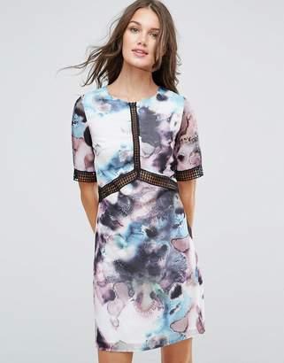 Little Mistress Oil Print Shift Dress With Lace Trim
