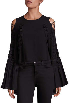 Alice McCall A Love Like That Lace-Up Sleeve Cold-Shoulder Top