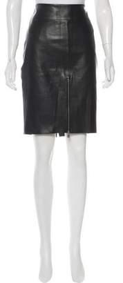 Ecru Genuine Leather Mini Skirt w/ Tags