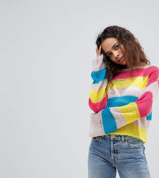 Asos Design Petite Stripe Jumper In Open Knit