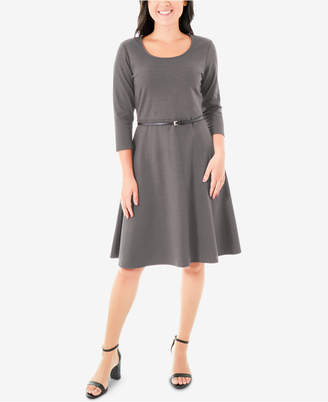 NY Collection Belted Ponte-Knit Dress