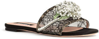 Rochas Black lace crystal embellished flat sandals