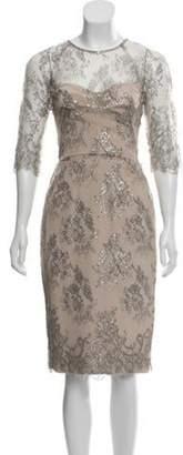 Lela Rose Lace Midi Dress silver Lace Midi Dress