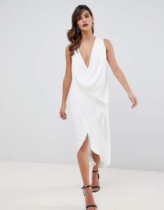 Asos DESIGN sleeveless drape fold neck midi dress in crepe