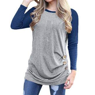 456369174d64c Tenworld W Womens Color Block Tunic Tops Long Sleeve T-Shirts Blouses with  Buttons