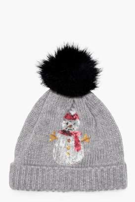 boohoo Christmas Amy Sequin Snowman Pom Beanie