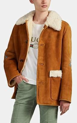 Gucci Men's Floral-Appliquéd Lamb Shearling Jacket - Camel