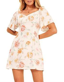 MinkPink Peach Pop Floral Mini Dress