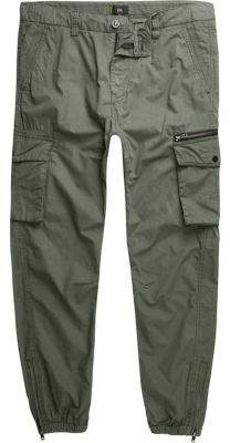 River Island Big and Tall khaki green cargo pants
