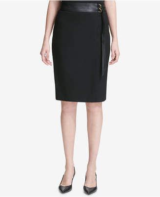 Calvin Klein Faux-Leather Belted Pencil Skirt