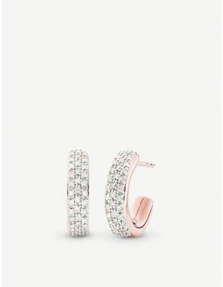 Monica Vinader Fiji Mini 18ct rose-gold vermeil and diamond hoop earrings