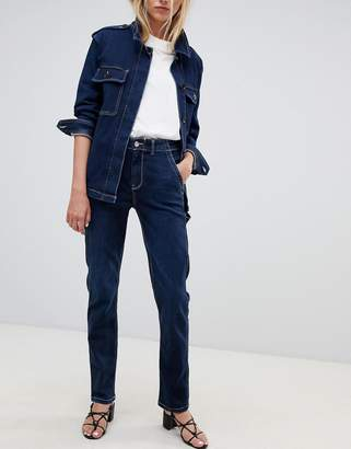 Tomorrow Denim Tomorrow sustainable denim worked pant with contrast stitching