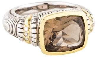 Judith Ripka Smoky Quartz & Diamond Cushion Ring