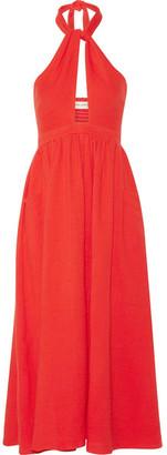 Mara Hoffman - Cutout Cotton-gauze Halterneck Midi Dress - Tomato red $250 thestylecure.com