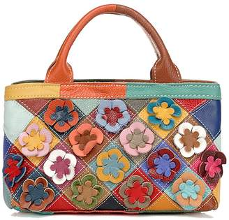 99895f915f Yilen Women s Leather Multi-color Flower Tote Purse Hobo Handbag Cross Body  Shoulder Bag