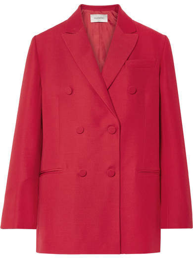 Valentino - Oversized Silk And Wool-blend Crepe Blazer - Red