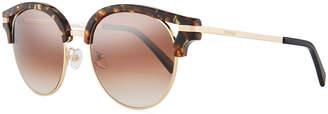 Balmain Semi-Rimless Round Mirrored Sunglasses, Brown Pattern