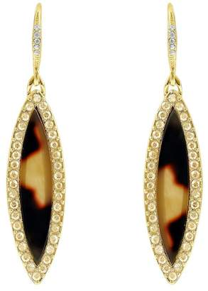 Adore Gold Plated Resin Inlay & Swarovski Crystal Accented Marquise Drop Earrings