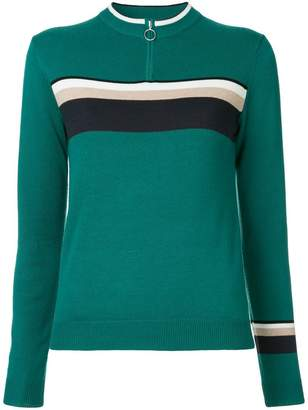 GUILD PRIME zipped contrast stripe jumper