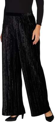 Halston H By H by Petite Crushed Velvet Wide Leg Knit Pants